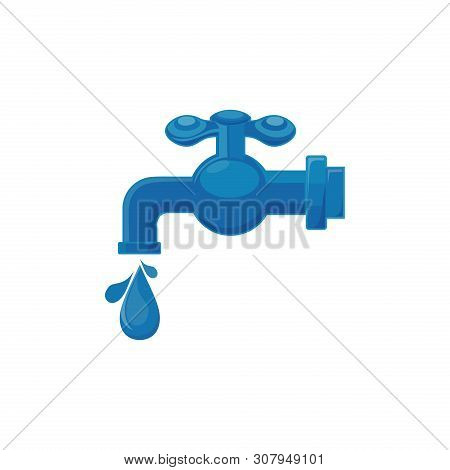 Plumbing Icon, Water Tap Icon Isolated On White Background. Faucet With Water Drop Vector Icon. Fill