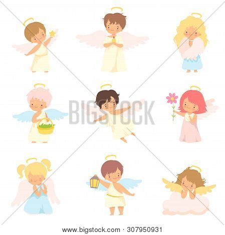 Cute Baby Angels With Nimbus And Wings Set, Adorable Boys And Girls Cartoon Characters In Cupid Or C