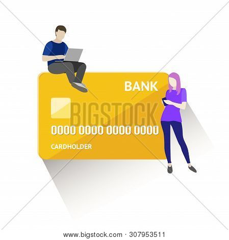 Flat Vector Illustration Of Mobile Banking Concept. Using A Smartphone For Operations With Bank Card