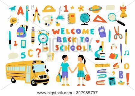 Welcome Back To School, Cute Doodle Set With Lettering. Funny Pupils, Cartoon Boy And Girl, School B