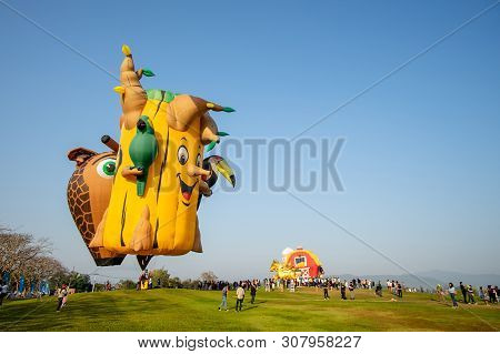 Chiangrai Thailand - Febuary 14 2019 : Singha Park Chiangrai International Balloon Fiesta 2019 In Si