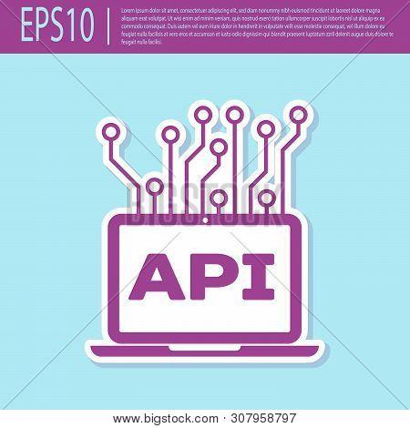 Retro Purple Computer Api Interface Icon Isolated On Turquoise Background. Application Programming I