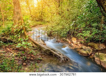 Long exposure image of a small stream in Rincon de la Vieja National Park in Costa Rica