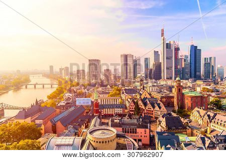 Panoramic View Cityscape Skyline Of Business District With Skyscrapers During Sunrise, Frankfurt Am