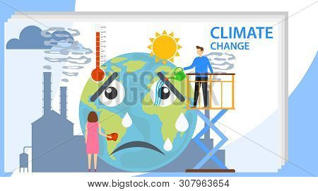 Climate Change, People Influence Climate Change. Climate Change. Vector Illustration