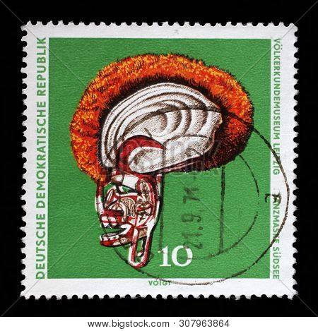 GDR-CIRCA 1971: A stamp printed in GDR shows Anzmaske Sudsee, The Ethnography Museum of Leipzig, circa 1971.