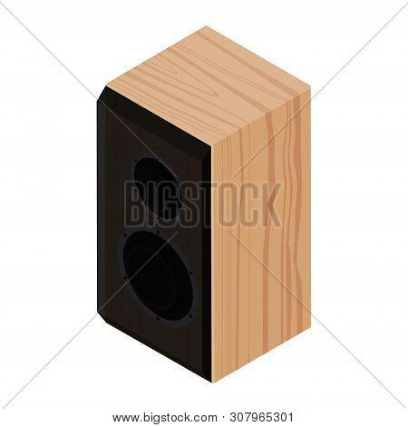 Black Acoustic Speaker, Loudspeaker Isolated On White Background Isometric View