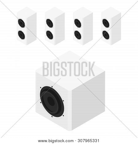 White Acoustic Speakers, Loudspeakers Isolated On White Background Isometric View