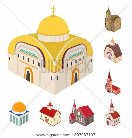 Vector Illustration Of Architecture And Building Sign. Collection Of Architecture And Clergy Vector