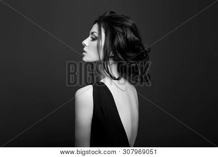 Classic Smokey Makeup On Woman Face, Beautiful Big Eyes. Fashion Perfect Makeup, Expressive Eyes On