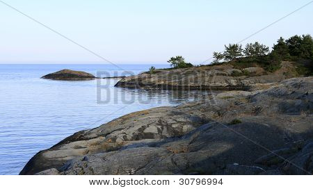 Nordic waters, the archipelago in late summer lit.