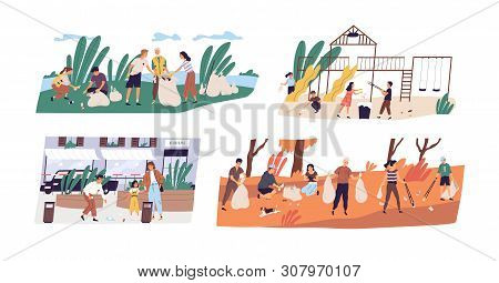 Collection Of Scenes With People Or Ecologists Collecting Garbage In Forest, On Street And Playgroun