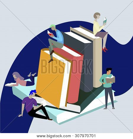 People Read Books, Sitting On Stack. Textbook Studying, Reader Bibliophile, Bookworm On Pile Of Book