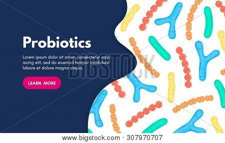 Vector Background With Probiotics. Bifidobacterium, Lactobacillus, Streptococcus Thermophilus, Lacto