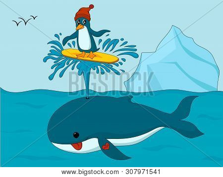 Colorful Illustation Of Cartoon Penguin In Hat Surfing On Whale Spout In The Ocean With Iceberg On B