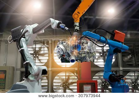 Control Automation Robot Arms The Production Of Factory Parts Engine Manufacturing Industry Robots A