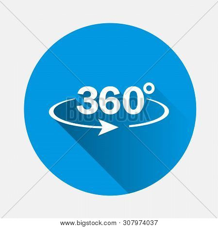 Vector Image Turn Sign 360 Degrees On Blue Background. Flat Image 360 Degrees With Long Shadow. Laye
