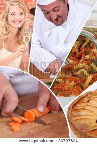 Mosaic of chef preparing meal