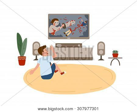 Kid boy sitting on round carpet and watching horror movie or film demonstrating violent behavior on TV set at home. Children and violence on television. Vector illustration in flat cartoon style. poster