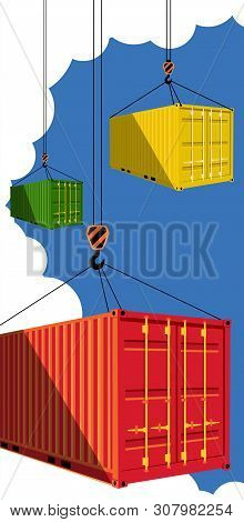 Shipping Container On Blue Sky Background. Delivery Logistics And Transportation Vector Illustration