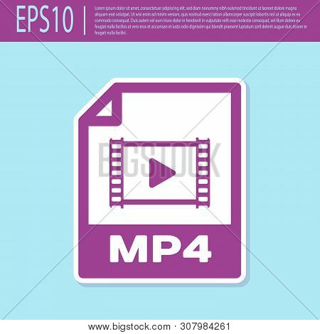 Retro Purple Mp4 File Document Icon. Download Mp4 Button Icon Isolated On Turquoise Background. Mp4
