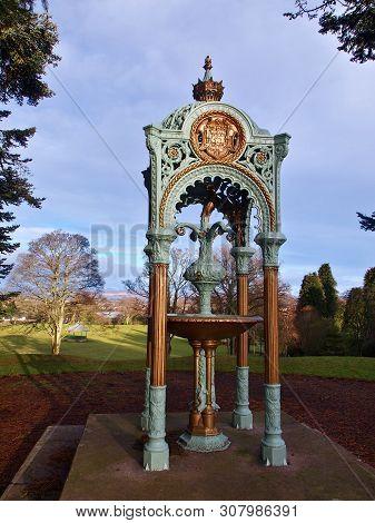 Fountain With A Swan.  Forfar, Scotland - January 29, 2018 A Beautiful, Stylish Fountain With A Hidd
