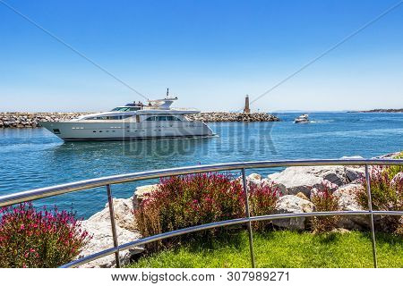 Luxury Yacht Enters Puerto Banus, Nueva Andalucia, Marbella, Province Of Malaga, Andalusia Spain