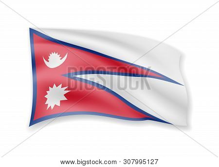 Waving Nepal Flag On White. Flag In The Wind.