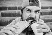 Break free of hunger and thirst. Bearded man having hot dog and coffee for snack break. Caucasian guy enjoying fast food and hot drink for meal break. Hipster snacking on stairs during rest break poster
