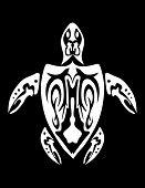 Tribal style turtle skeleton bones shell white poster