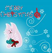Cute kitty illustration for Christmas with candies on a blue background poster