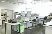 Blood analysis laboratory test. Hospital scientific equipment. Hematology biotechnology area poster