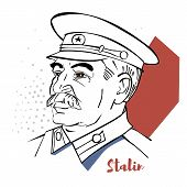 Joseph Stalin flat colored vector portrait with black contours.  Georgian revolutionary and Soviet politician who led the Soviet Union as General Secretary of the Communist Party of the Soviet Union. poster