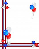 3 Dimensional illustration of Stars and Stripes for patriotic border or background poster