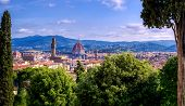 Florence, Italy along the Arno River in the Tuscany region. poster