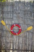 Paddles and a lifeline displayed on a reed wall. poster