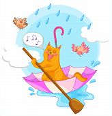 cat sailing in an umbrella and singing in the rain poster