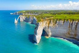 Picturesque Panoramic Landscape On The Cliffs Of Etretat. Natural Amazing Cliffs. Etretat, Normandy,