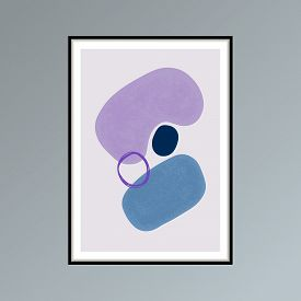 Abstract Stains Sketch Poster In Shades Of Blue And Purple For Interior Decor.