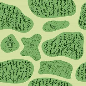 Seamless Pattern With Fir Tree Forest, Ducks, Hare And Log House. Flat Style Repeat Background