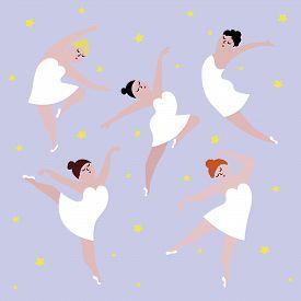 Happy Plus Size Dancing Girls Set. Body Positive Concept Vector Illustration.