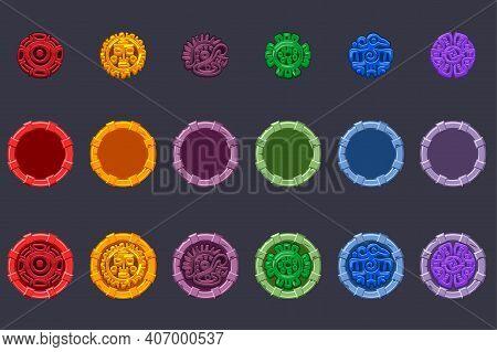 Set Of Vector Symbol Aztecs Maya Culture.