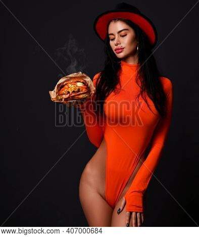 Beautiful Hungry Woman Hold Big Burger Cheeseburger Sandwiches With Hot Steam Smoke In Green In Sexy