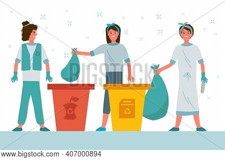 People Sort The Garbage. Flat Cartoon Stacking Garbage In Trash Cans, Dumpsters Or Barrels. A Set Of
