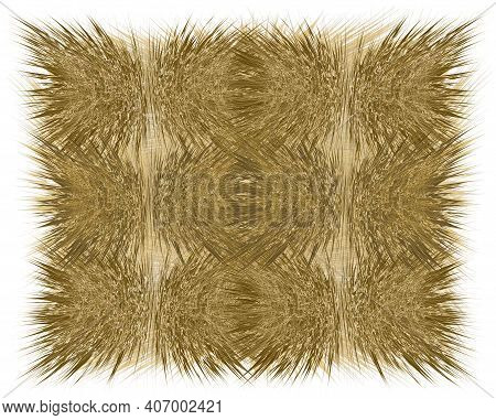 Rustic Mat, Rug, Carpet, Tapestry With Rough Grunge Striped Wavy Elements In Brown, Beige Colors Iso