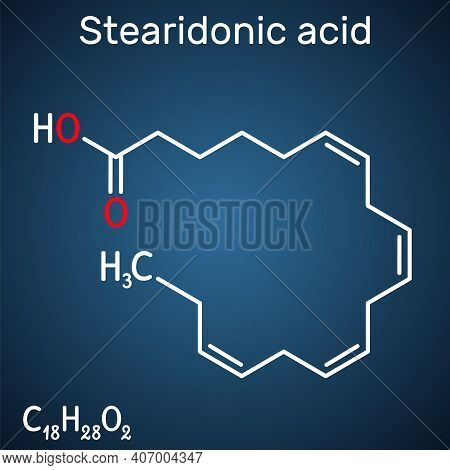Stearidonic Acid, Moroctic Acid, Sda Molecule. It Is An Omega-3, Fatty, Octadecatetraenoic Acid. Str