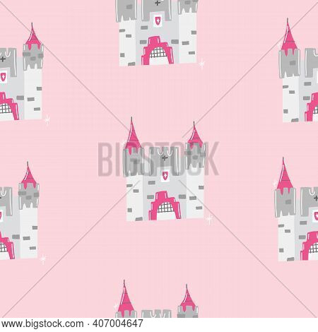 Pink Hand Drawn Seamless Vector Illustration Pattern For Little Princesses With Castle, Lipstick, Kn