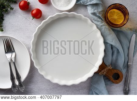 Food Background Mockup With Round Baking Dish Porcelain Ramekin On Pastel Neutral Grey Concrete Back