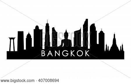 Bangkok Skyline Silhouette. Black Bangkok City Design Isolated On White Background.