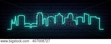 Blue Neon Skyline Of Grand Rapids. Bright Grand Rapids City Long Banner. Vector Illustration.